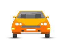 Flat yellow car vehicle type design style vector generic classic business illustration isolated. Royalty Free Stock Photos