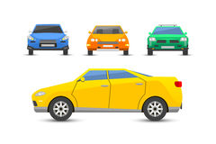 Flat yellow car vehicle type design style vector generic classic business illustration isolated. Stock Photos