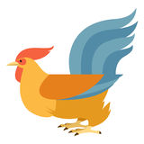 Flat Yellow rooster Royalty Free Stock Image