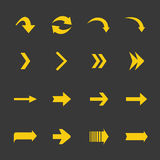 Flat yellow vector set of arrows icons. Royalty Free Stock Photography