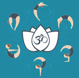 Flat yoga postures around aum symbol on white lotus over mandala Stock Images