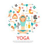 Flat Yoga Round Concept Stock Images