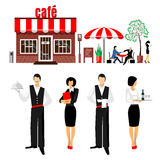 Flat young stylish male and female waiters Royalty Free Stock Photos