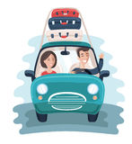 Flat Young Travelers. Car with a Lot of Bags on the Background. Colorful Vector Illustration Royalty Free Stock Photography