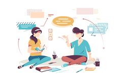 Flat young woman and man employee with notebook, speech bubble for project discussion. Concept businessman and businesswoman characters with work equipment royalty free illustration