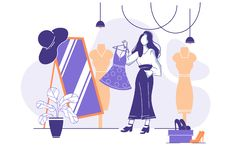 Flat young woman trying on clothes in front of mirror in store. Concept girl in market with dresses and shoes. Vector illustration royalty free illustration