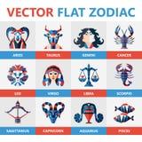 Flat zodiac signs, horoccope, stars, astrology. Flat zodiac signs, horoccope stars and astrology vector illustration