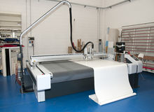 Flatbed cutter plotter in print shop Stock Photo