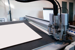 Flatbed cutter/router (cutting plotter). Cutting plotter is used by professional poster and billboard sign-making businesses to produce weather-resistant signs stock image