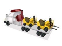 Flatbed för traktorsläp som laddar gaffeltruck två Arkivfoto