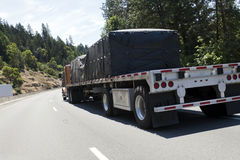 Flatbed Semi Truck with Freight Royalty Free Stock Photography