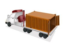 A Flatbed Trailer Delivering A Cargo Container. An Orange Freight Container on The Back of A Flatbed Truck, Tractor Trailer or Flatbed Articulated Lorry for royalty free illustration