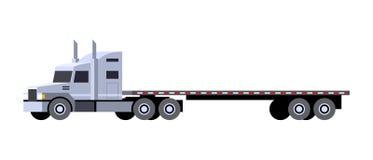 Flatbed trailer tractor truck. Minimalistic icon flatbed trailer tractor front side view. Semi trailer vehicle. Vector isolated illustration stock illustration