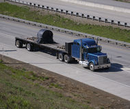 Flatbed Truck. On the Highway Stock Photography