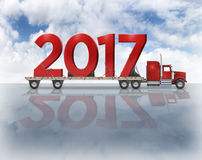 2017 On Flatbed Truck - 3D Illustration Royalty Free Stock Image