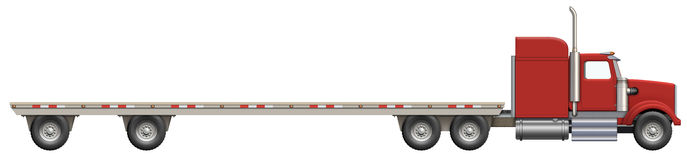 Flatbed Truck. Illustration of a flatbed truck. The bed is empty and ready for your creative ideas Stock Images