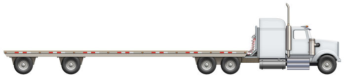 Flatbed Truck. Illustration of a flatbed truck. The bed is empty and ready for your creative ideas Royalty Free Stock Photography