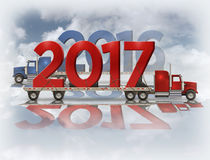 2017 and 2016 On Flatbed Trucks - 3D Illustration. 3D illustration of the year 2017 and 2016 on red and blue flatbed trucks set on a reflective surface with a Royalty Free Stock Image