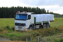 Flatbed Volvo FH12 Transports Silage Bales Stock Image