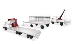 Flatbedsläp med den nytto- släpet och Tow Truck Royaltyfri Foto