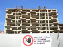 Flatblok in aanbouw, Tirana, Albanië royalty-vrije stock fotografie