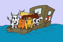 Flatboat with livestock. Illustration of a flatboat with livestock on board Stock Photo