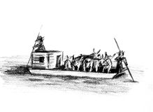 Flatboat with livestock. Illustration of a flatboat with livestock on board Stock Photos
