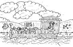 Flatboat with livestock. Black and white illustration of flatboat shipping a livestock Stock Image