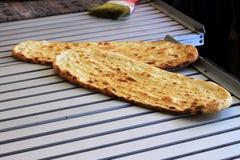 Flatbread al forno fresco Fotografia Stock Libera da Diritti