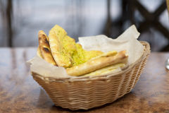 Flatbread in basket Stock Images