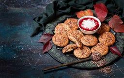 Flatbread com zaatar e iogurte com sumac Imagem de Stock Royalty Free