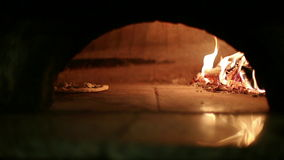 Flatbread cooked in the oven stock footage