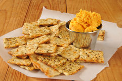 Flatbread crackers with cheddar cheese Royalty Free Stock Images