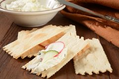 Flatbread crackers with cream cheese Stock Photo