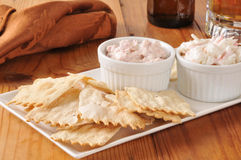Flatbread crackers with dips and beer Royalty Free Stock Image