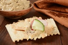 Flatbread crackers and hummus Royalty Free Stock Photography