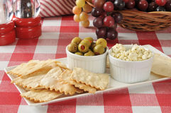 Flatbread crackers with olives and feta cheese Royalty Free Stock Photography