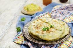 Flatbread farcito patata indiana Fotografie Stock