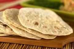 Flatbread indien de chapati image stock