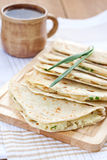 Flatbread with mashed potato and spring onion Stock Images