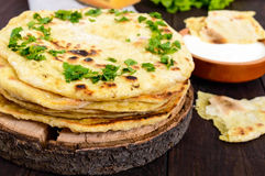 Flatbread mince - pain asiatique traditionnel Photographie stock