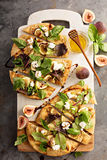 Flatbread Pizza With Figs, Cheese And Salad Leaves Stock Photo