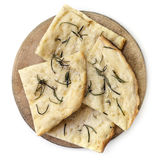 Flatbread with Rosemary and Sea Salt on Old Board Top View Isola Stock Photos