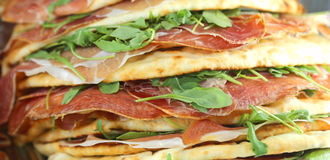 Flatbread for sale in the European cafe Royalty Free Stock Photo