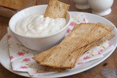 Flatbread with sour cream Royalty Free Stock Photos
