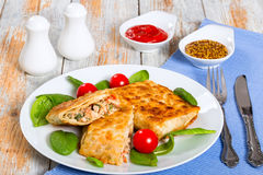 Flatbread Stuffed with chicken meat, Cucumber, coleslaw, tomato stock images