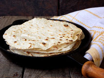 Flatbread. Tasty and fresh tortilla or flatbread royalty free stock photography