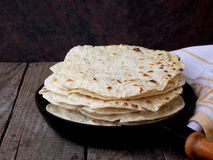 Flatbread. Tasty and fresh tortilla or flatbread stock photos