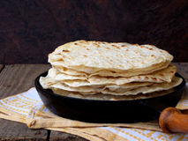 Flatbread. Tasty and fresh tortilla or flatbread royalty free stock photos