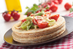 Flatbread with vegetables and cheese Stock Image